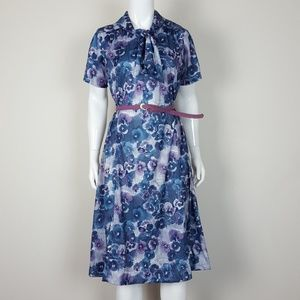 Vintage Purple Floral Day Dress